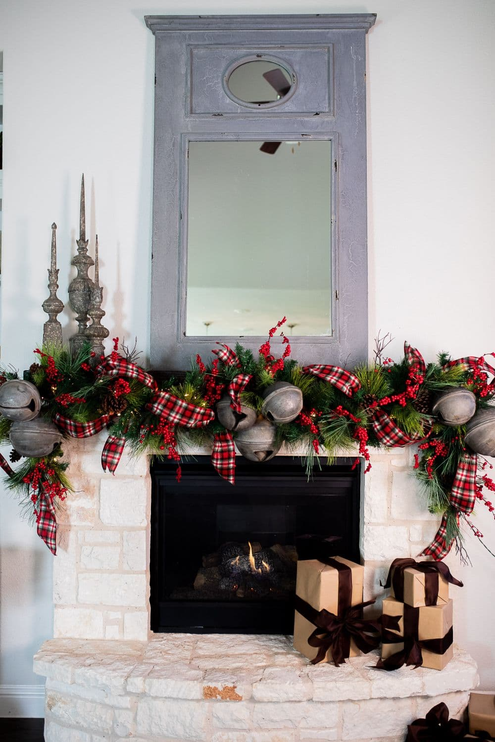 Creating A Farmhouse Mantle With Christmas Bell Garland Decorator S Warehouse